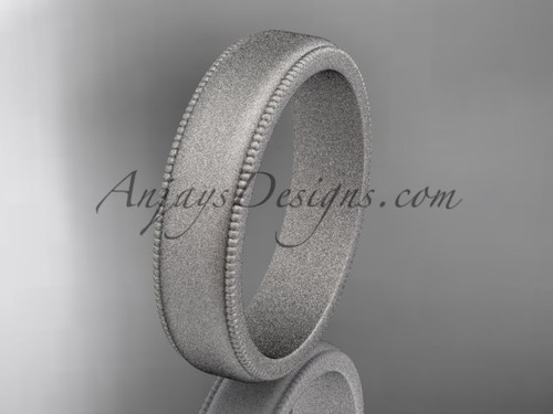 White Matte Finish Gold Milgrain Wedding Band 5mm WB50405G