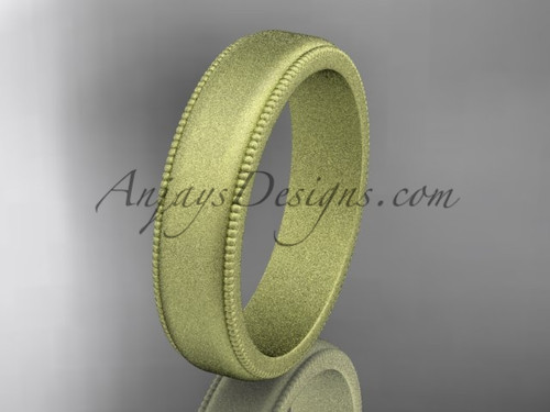 Yellow Matte Finish Gold Milgrain Wedding Band 5mm WB50405G