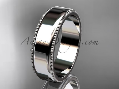 14k White Gold Milgrain Wedding Band 6mm WB50406G