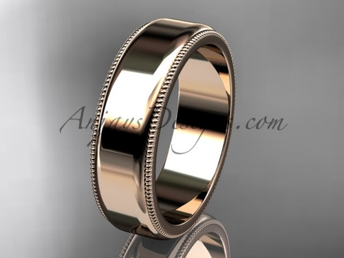 14k Rose Gold Milgrain Wedding Band 6mm WB50406G