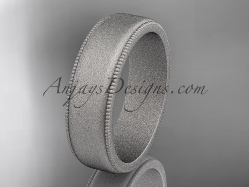 White Matte Finish Gold Milgrain Wedding Band 6mm WB50406G