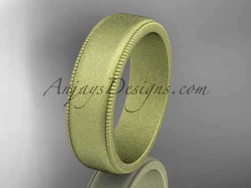 Yellow Matte Finish Gold Milgrain Wedding Band 6mm WB50406G