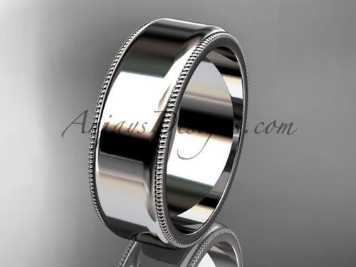 14k White Gold Milgrain Wedding Band 7mm WB50407G