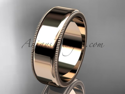 14k Rose Gold Milgrain Wedding Band 7mm WB50407G