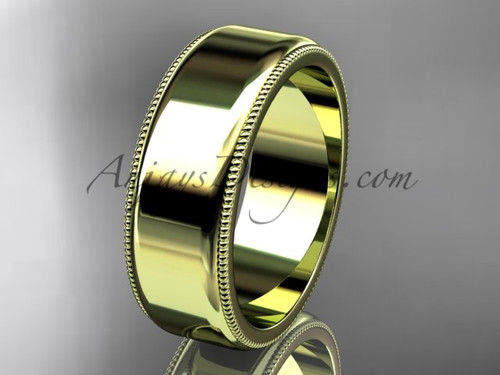 14k Yellow Gold Milgrain Wedding Band 7mm WB50407G