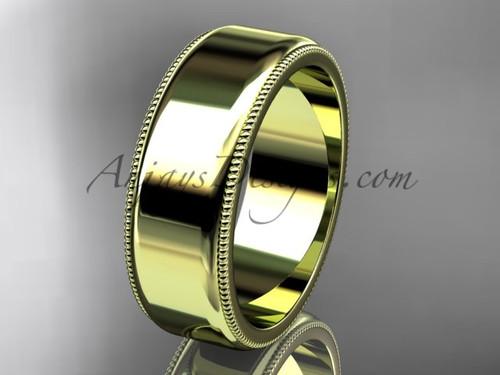 14k Yellow Gold Milgrain Wedding Band 7mm WB50407G