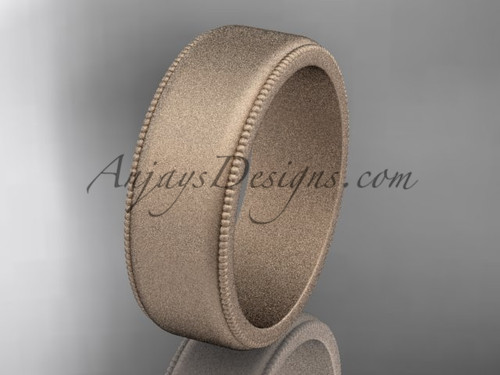Rose Matte Finish Gold Milgrain Wedding Band 7mm WB50407G