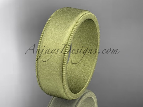 Yellow Matte Finish Gold Milgrain Wedding Band 7mm WB50407G