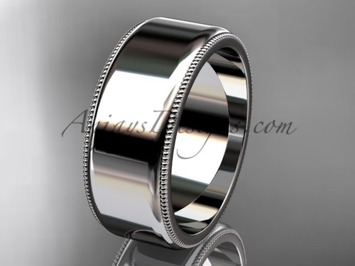 14k White Gold Milgrain Wedding Band 8mm WB50408G