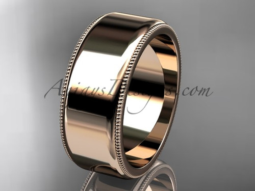 14k Rose Gold Milgrain Wedding Band 8mm WB50408G