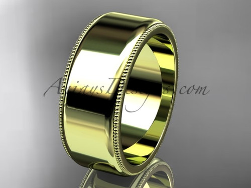 14k Yellow Gold Milgrain Wedding Band 8mm WB50408G