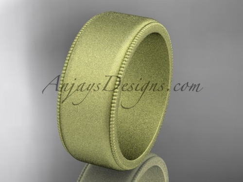Yellow Matte Finish Gold Milgrain Wedding Band 8mm WB50408G