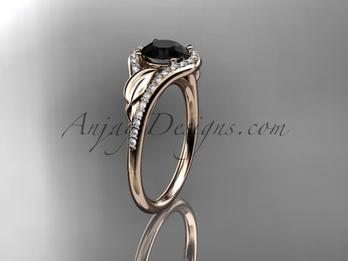14kt rose gold diamond leaf wedding ring, engagement ring with a Black Diamond center stone ADLR334
