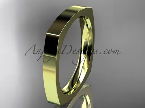14k Yellow Gold Square Wedding Band 3mm WB50603G