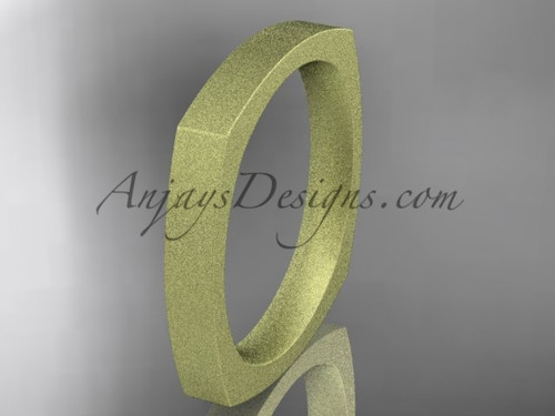 Yellow Matte Finish Gold Square Wedding Band 3mm WB50603G