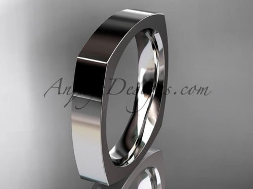 14k White Gold Square Wedding Band 4mm WB50604G