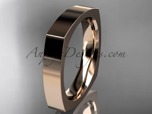 14k Rose Gold Square Wedding Band 4mm WB50604G