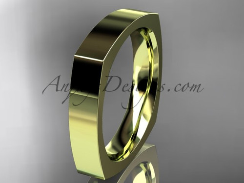 14k Yellow Gold Square Wedding Band 4mm WB50604G