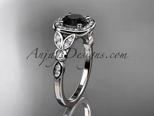 platinum diamond leaf and vine wedding ring, engagement ring with a Black Diamond center stone ADLR179