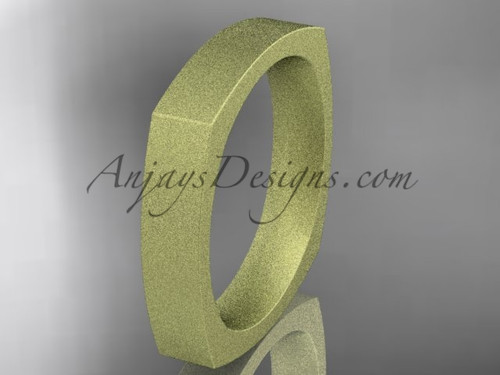 Yellow Matte Finish Gold Square Wedding Band 4mm WB50604G