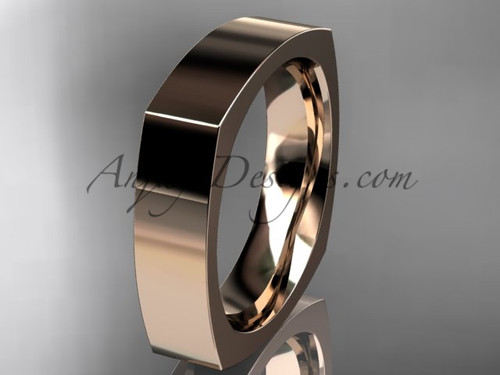 14k Rose Gold Square Wedding Band 5mm WB50605G