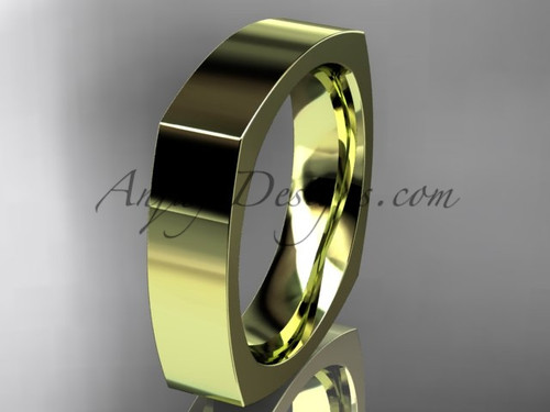 14k Yellow Gold Square Wedding Band 5mm WB50605G