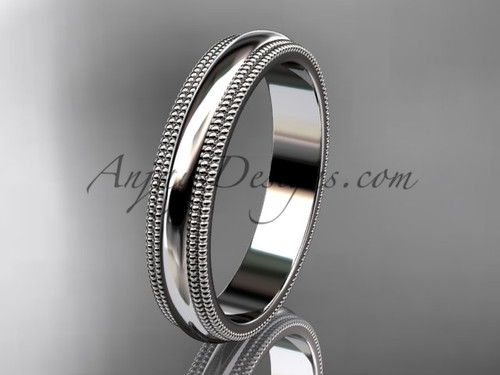 14kt White Gold Milgrain Wedding Band 4mm WB50504G