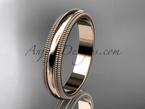 14kt Rose Gold Milgrain Wedding Band 4mm WB50504G