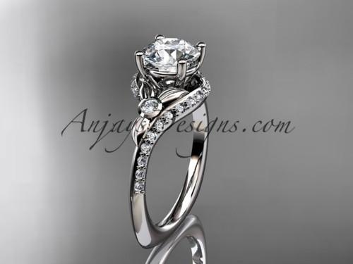 14kt white gold diamond leaf and vine engagement ring ADLR112