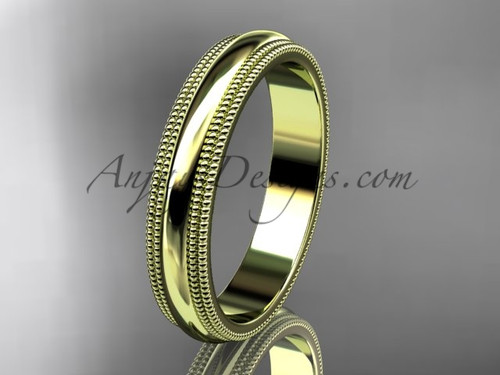 14kt Yellow Gold Milgrain Wedding Band 4mm WB50504G