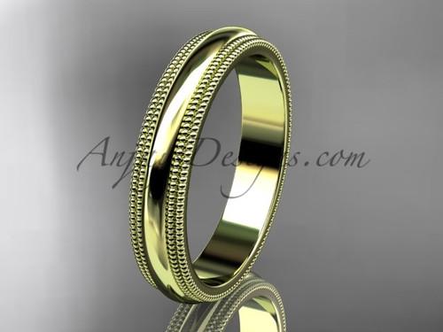 14kt Yellow Gold Milgrain Wedding Band 4mm WB50504G