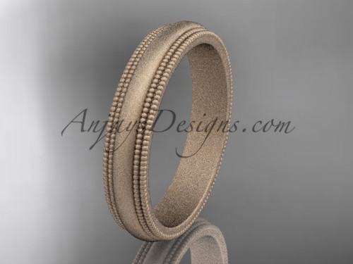 Rose Matte Finish Gold Milgrain Wedding Band 4mm WB50504G