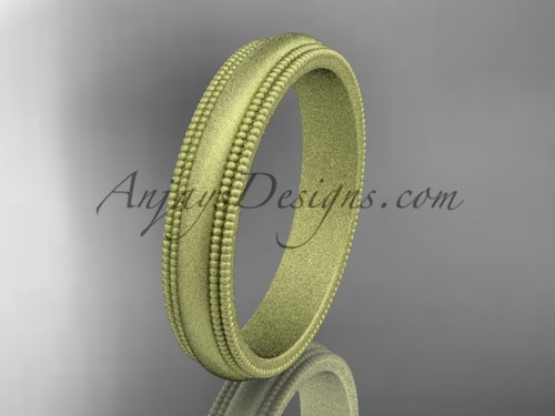 Yellow Matte Finish Gold Milgrain Wedding Band 4mm WB50504G