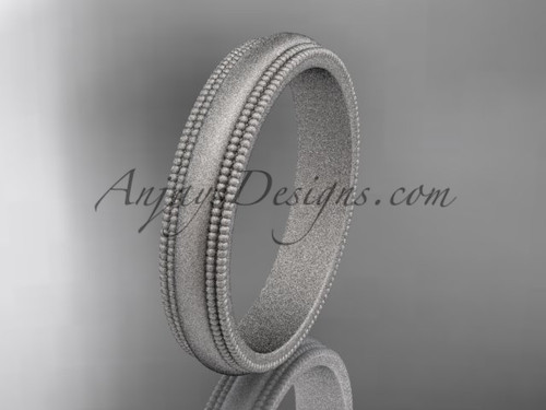 Platinum Matte Finish Milgrain Wedding Band 4mm WB50504G