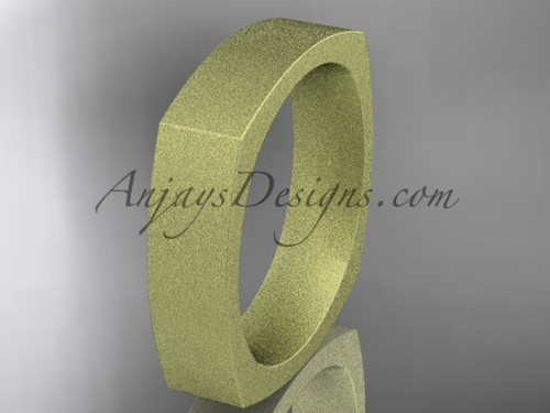Yellow Matte Finish Gold Square Wedding Band 5mm WB50605G