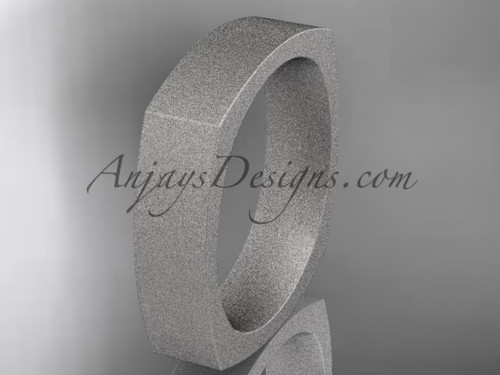 Platinum Matte Finish Square Wedding Band 5mm WB50605G