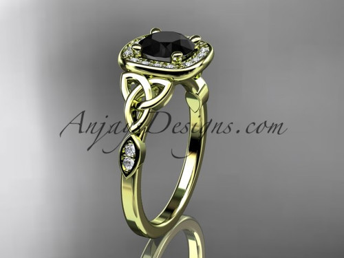 14kt yellow gold diamond celtic trinity knot wedding ring, engagement ring with a Black Diamond center stone CT7179