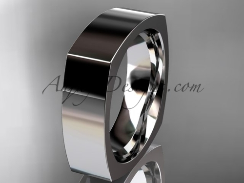 14k White Gold Square Wedding Band 6mm WB50606G
