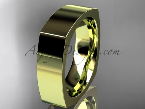 14k Yellow Gold Square Wedding Band 6mm WB50606G
