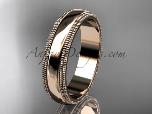 14kt Rose Gold Milgrain Wedding Band 5mm WB50505G