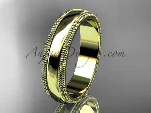 14kt Yellow Gold Milgrain Wedding Band 5mm WB50505G
