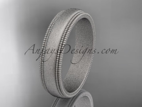 White Matte Finish Gold Milgrain Wedding Band 5mm WB50505G