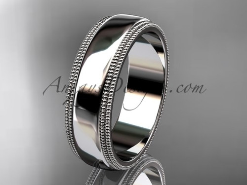 14kt White Gold Milgrain Wedding Band 6mm WB50506G