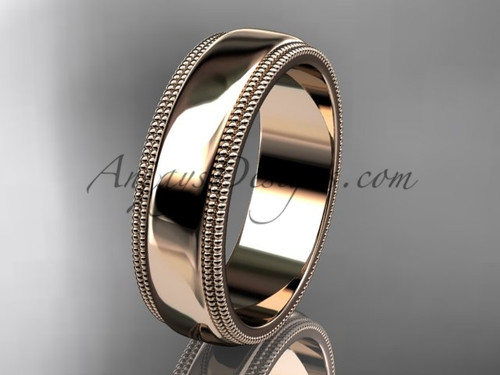 14kt Rose Gold Milgrain Wedding Band 6mm WB50506G