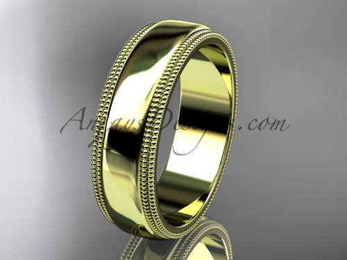 14kt Yellow Gold Milgrain Wedding Band 6mm WB50506G