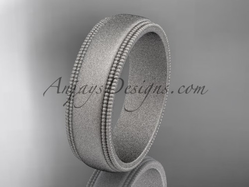 White Matte Finish Gold Milgrain Wedding Band 6mm WB50506G