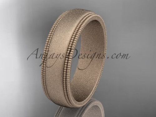 Rose Matte Finish Gold Milgrain Wedding Band 6mm WB50506G