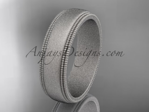 Platinum Matte Finish Milgrain Wedding Band 6mm WB50506G