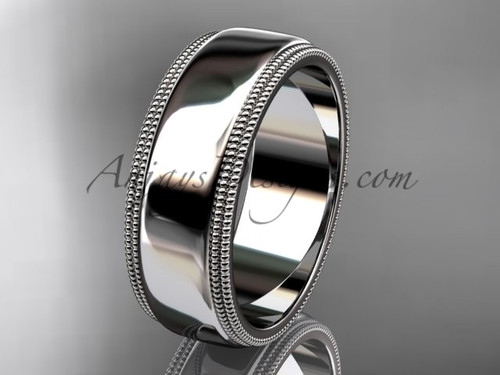 14kt White Gold Milgrain Wedding Band 7mm WB50507G