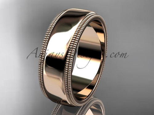 14kt Rose Gold Milgrain Wedding Band 7mm WB50507G